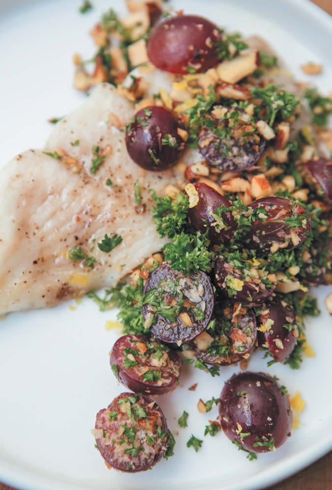 Flounder Baked with Grapes  and Almonds