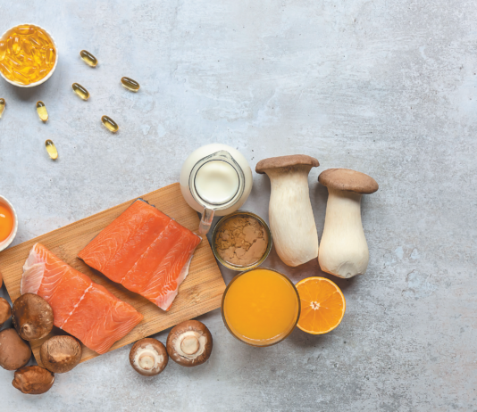 We get vitamin D from sun exposure and a few foods (fatty fish, mushrooms, egg yolk, and fortified milk and juices).